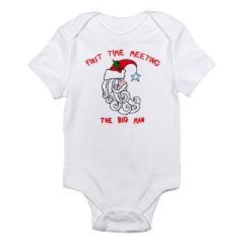 First Time Meeting Santa Claus Infant Bodysuit> First Time Meeting the Big Man (Santa Claus)> Scarebaby Design