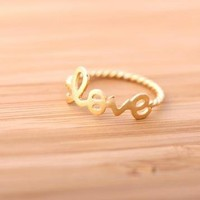 love ring with twisted ringline by bythecoco on Zibbet