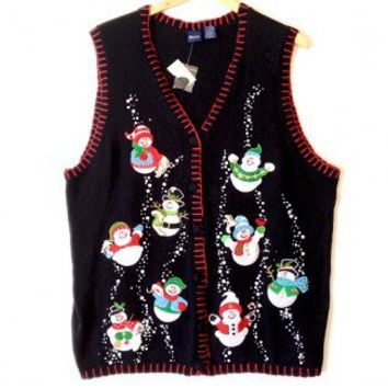 Shop Now! Ugly Sweaters: Bubbly Snowmen Tacky Ugly Christmas Sweater Vest Women's Plus Size 3X - Brand new! $25 - The Ugly Sweater Shop