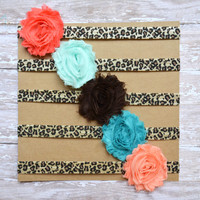 Leopard Flower Headband Set, Baby Flower Headband, Shabby Flower Headband, Leopard Print Headband, Shabby Chic Headband, coral brown aqua