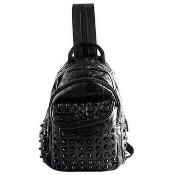 Backpack With PU Leather and Rivets Design