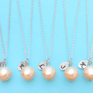 Set of 1-4 Bridesmaid, 10mm PEACH Pearl, Initial, Necklaces, One, Pearl, Necklace, Single, Pearl, Pendant, Necklaces, Bridesmaid, Necklaces