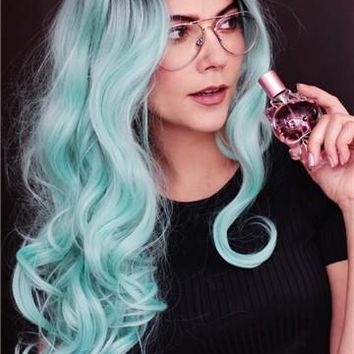 Long Big Wave Light Mint Green Synthetic Lace Front Wig