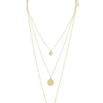 Circle disk three layer choker necklace (c)