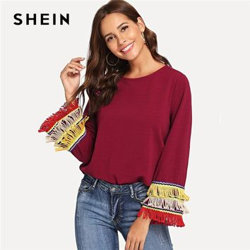 SHEIN Burgundy Embroidery Tape And Fringe Bell Sleeve Textured Blouse Colorblock Tiered Layer Long Sleeve Women Tops
