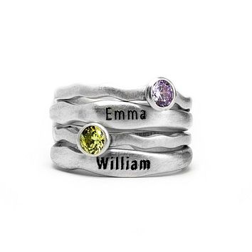 Birthstone Engraved Name Ring Set