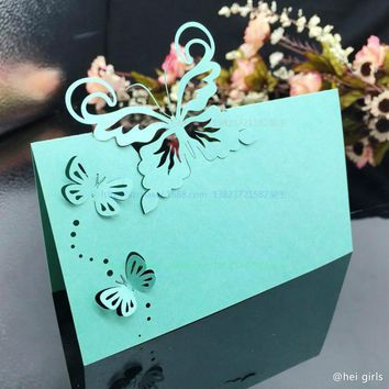 50pcs/lot Hollow Wedding Invitations 2017 Butterfly Table Name Card Wedding Decoration