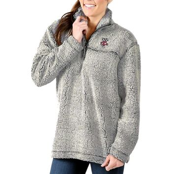 Wisconsin Badgers Women's Sherpa Super Soft Quarter-Zip Pullover Jacket - Gray