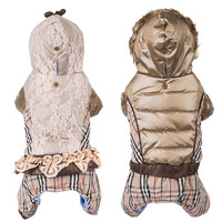 Winter Dog Clothes Plaid Dog Down Coat Puffy Jacket for Small Dogs Fur Hood Pet Jumpsuit Luxury Quality Thick Warm Puppy Clothes