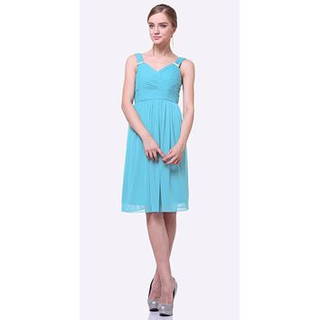 Knee Length Mint Beach Wedding Bridesmaid Dress Flowy Chiffon 614d06806