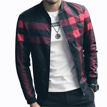 Trendy Hotsale Plaid Jacket Men Bomber Jacket Fashion Slim Mens jackets and Coats Chaquetas Hombres Jaquetas Bomber Plus Size 4XL 5XL AT_94_13