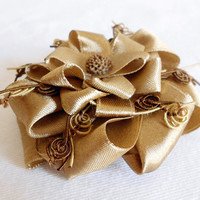 CARAMEL Vintage Inspired Satin Ribbon Flower Brooch in Caramel Golden & Chocolate Brown by WilwarinDesigns on Etsy