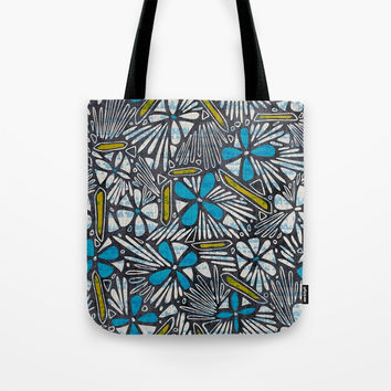 Asha Floral - Blue Tote Bag by heatherduttonhangtightstudio