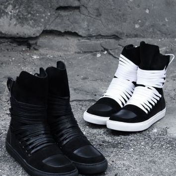 Extended-Lace-Up Back-Zip Suede High-Top Sneakers