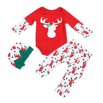 Unisex Baby X-mas Clothes Kids Long Sleeve Christmas Reindeer Printed Bodysuit + Pants + Hat Outfits