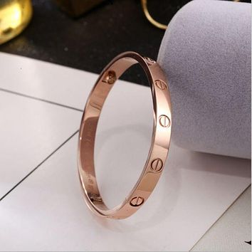 Perfect Cartier Women Fashion LOVE Plated Bracelet Jewelry