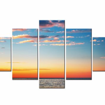 5 Pieces Canvas Pictures Wall Art Home Decor For Living Room Sunset Sea Wave Beach Seascape Paintings