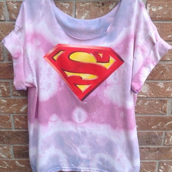 Superman shirt// grunge // bleached // tie dyed // super hero