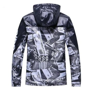 Adidas Popular Loose Women Men Fashion Print Zip Cardigan Jacket Hoodie Coat Sweatshirt Windbreaker