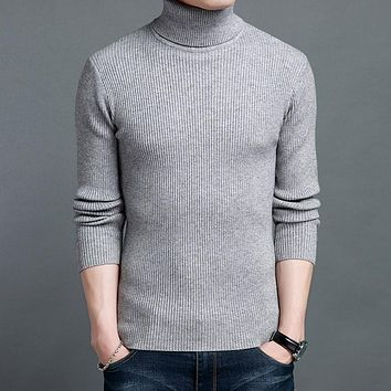 Turtleneck Men Wool Sweater Knitted Male Pullovers Slim Fit Solid Mens Jumpers Sweaters Turtle Neck Christmas Knitwear Black Red