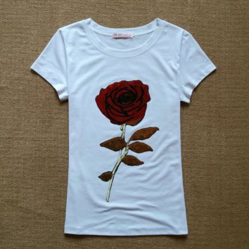 Hot sale fashion show thin Bead piece the roses T-shirt white