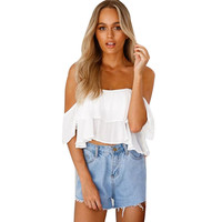 2017Women Blouses  Short Sleeve Chiffon Pullover Sexy Off Shoulder Casual Blouse summer  crop Tops Chemise Femme #5