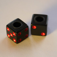 Valve Cap Dice Set: Black with Red Dots ~ Tire Caps for Bicycle, BMX, Motorcycle, Car,