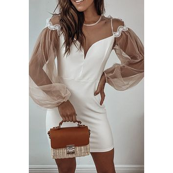 White Short Dress with Mesh Sleeves