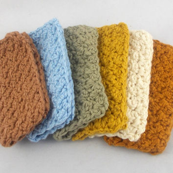 Set of 6 / crochet organic washcloths / organic washcloths / cotton washcloths / baby washcloths / spa washcloths / all natural fibers