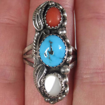 Vintage Sterling Navajo Coral Turquoise Pearl Ring Size 8