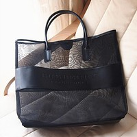 Burberry Popular Women Men Shopping Bag Simple Black Large Capacity Net Yarn Shoulder Bag Handbag Bag I12531-1