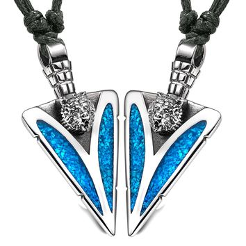 Arrowhead Wild Grizzly Bear Head Love Couples BFF Set Amulets Simulated Turquoise Adjustable Necklaces