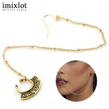 Imixlot 1 Piece Antique Gold Silver Fake Nose Ring With Chain Clip On Body Jewelry Fake Septum Piercing Hanger Jewelry for Women