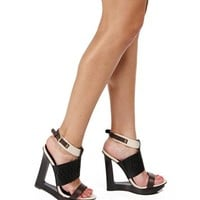 Black Laser Cutout Wedge