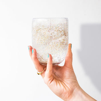 Glitter Bomb Wine Glass Set | FIREBOX