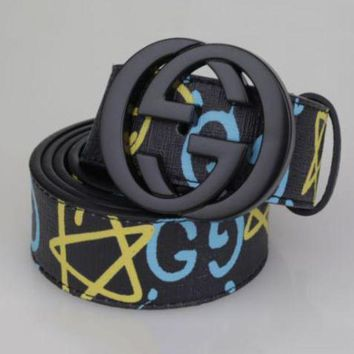 PEAPUX5 GUCCI Fashion Man Women Smoothing Belt Five-Pointed Star Print Belt