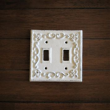 Double Toggle Switch Plate Hand Painted Cast Iron Switchplate Cover Antique White Distressed Fleur de Lis Style