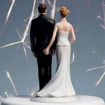 """The Love Pinch"" Bridal Couple Figurine Caucasian Couple (Pack of 1)"