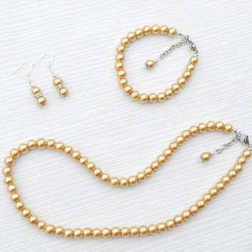 Gold pearl set, gold Christmas gift, gold gift, Valentine's gift, Weddings jewelry, gold weddings, gold set jewelry, gold necklace