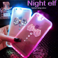 Bling Flower Bow Tie Rhinestone LED Flash Light UP Remind Incoming Call Cases Cover