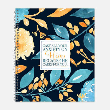 1 Peter 3:5 Notebook, Waterproof Cover, Bible Journal, School Supplies, Office Supplies, Flower Journal, College Ruled Notebook