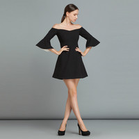 Black Casual Flared Sleeve Off Shoulder MIni Dress
