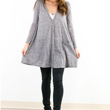 Grey V-Neck Long Sleeve Pull Over Cardigan