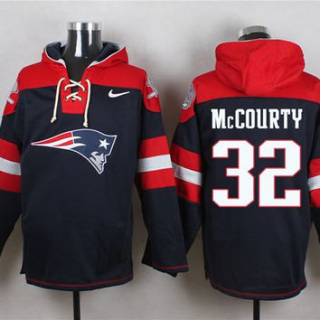 New England Patriots #32 Devin McCourty Navy Blue Pullover Hoodie