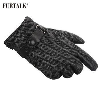 FURTALK Men Winter  Real Lamb Leather Gloves Fashion  with Warm Cashmere Lining Tactical Gloves