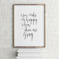 """Love poster Home decor """"You make me Happy"""" Love quote Gift idea Valentine's day Inspiring quote Wall art For couples Romantic quote Word art"""