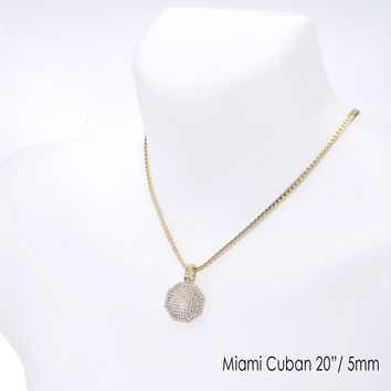 """Jewelry Kay style Men's Iced Octagon Pendant 20"""" / 24"""" Miami Cuban Chain Necklace Set MCP 1134 G"""