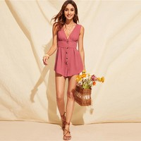 Boho Pink Double V Neck Button Front Tank Romper Women Sleeveless Pleated High Waist Playsuit Elegant Solid Rompers