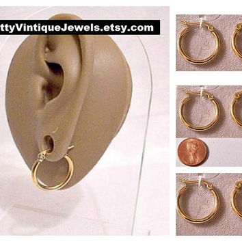 """Monet Round Tube 3/4"""" Hoops Pierced Post Stud Earrings Gold Tone Vintage 19mm Large Womens Girls Ladies Thick Band Open Dangle Rings"""