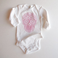 Easter Baby Girl Clothes. Pink Punk Skull snap shirt bodysuit. 3 months 12 months Trendy Tattoo Long Sleeve romper